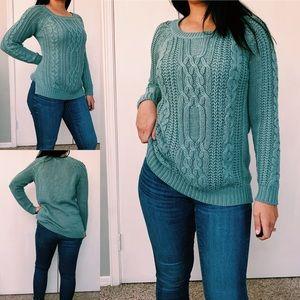 Pink Rose Teal Knit Sweater